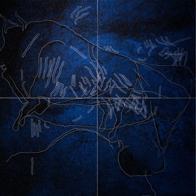 菊池遼/Ryo Kikuchi, Idea #5(Chauvet), acrylic on panel, 89×89×3cm, 2017